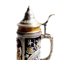 Antigüedades: JARRA DE CERVEZA ALEMANA CON TAPA METÁLICA - 28 CM DE ALTO. Lote 97316815
