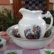 Antigüedades: ANTIGUA PALANGANA CON JABONERA, SELLADA LA CARTUJA, PRECIOSA. Lote 97334055