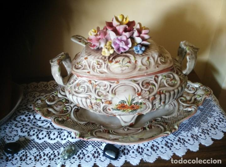 Antigüedades: BANDEJA Y SOPERA DE CAPODIMONTI, GRAN TAMAÑO - Foto 3 - 97352279