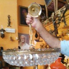 Antigüedades: LÁMPARA PLANA DE CRISTAL Y LATÓN. Lote 97353079