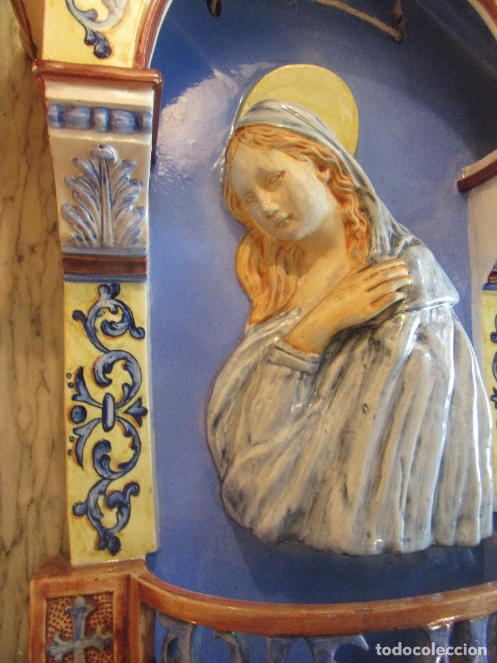 Antigüedades: PILA DE MANISES CON EL AVE MARIA Y LA VIRGEN, SIGLO XIX - Foto 7 - 97353711