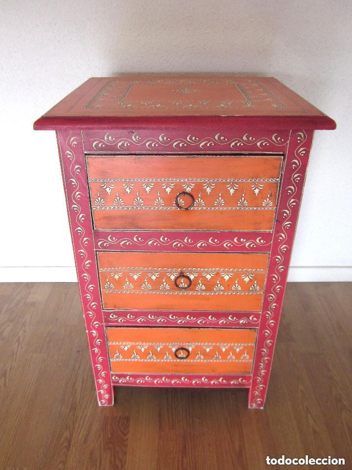 Antigüedades: Aparador cajonera mesilla o mesita de noche árabe oriental madera policromada artesanal SÓLO RECOGER - Foto 6 - 97364575