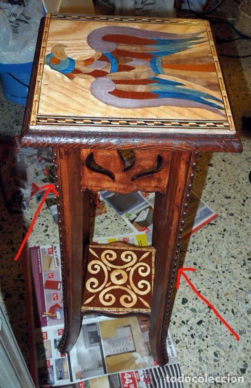 Antigüedades: Macetero Peana Pedestal madera incrustaciones de taracería como soporte escultura - Foto 2 - 97364959