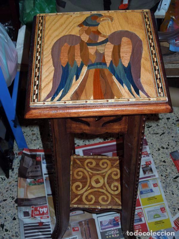 Antigüedades: Macetero Peana Pedestal madera incrustaciones de taracería como soporte escultura - Foto 3 - 97364959