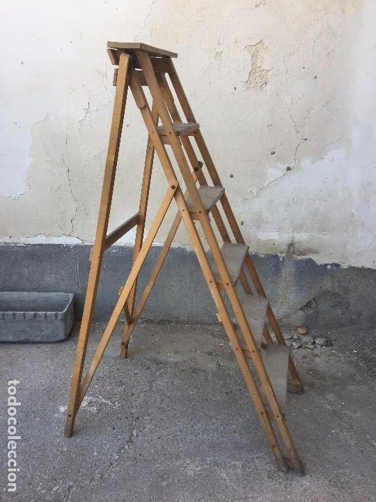 Escalera de biblioteca madera plegable ppio s x comprar muebles auxiliares antiguos en - Escalera de pintor de madera ...
