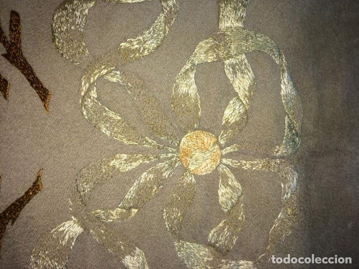 Antigüedades: CORTINA. BAMBALINA. TEJIDO DE LANA CON BORDADOS A MANO EN ALGODÓN. ESPAÑA. CIRCA 1850 - Foto 8 - 97378411