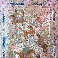 Antigüedades: CACERIA ECUESTRE DE LEONES. TAPIZ. BORDADO MANUAL EN LANA. IRAN(?). CIRCA 1950. Lote 97379607