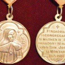 Antigüedades: MEDALLA EN BRONCE SOBREDORADO ESPAÑA MADRE PETRA MADRES DESAMPARADOS RIO DE SAN JOSE DE LA MONTAÑA. Lote 48411479
