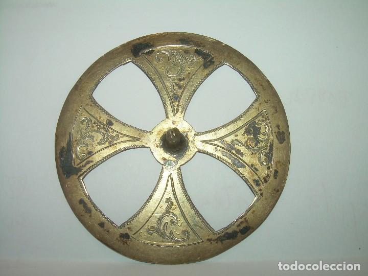 ANTIGUA CORONA DE LATON CINCELADA....SIGLO XIX. (Antigüedades - Religiosas - Varios)