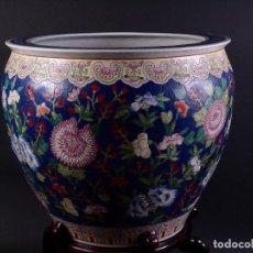 Antigüedades: PORCELANA CHINA, JARRÓN-MACETERO AZUL COBALTO. Lote 97427275