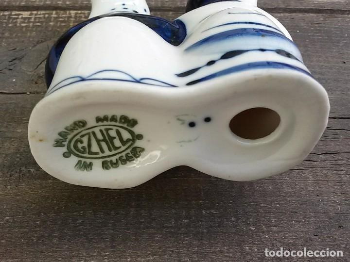 Antigüedades: Campesinos porcelana rusa Gzhel - Foto 4 - 97440735