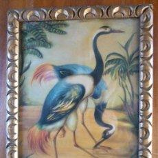 Antigüedades: CUADRO VINTAGE CON GRULLAS EN MARCO DE MADERA. Lote 97451883
