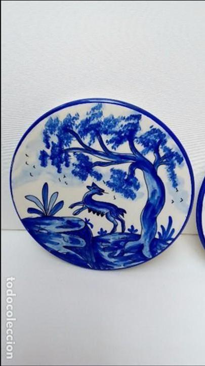 Antigüedades: platos pareja TALAVERA - - Foto 2 - 97482459