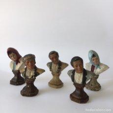 Antiquitäten: 5 BUSTOS DE BARRO TERRACOTA DEL ESCULTOR JOSE CUBERO MALAGA. Lote 97488306