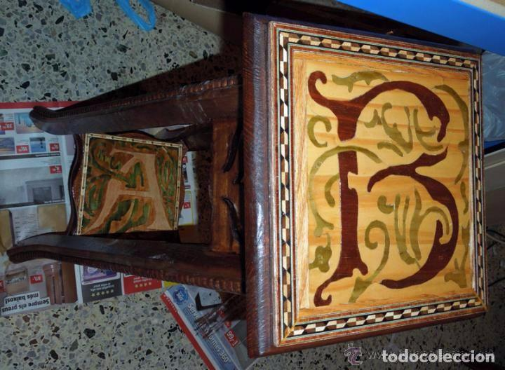 MACETERO PEANA PEDESTAL MADERA INCRUSTACIONES DE TARACERÍA Y MARQUETERÍA COMO SOPORTE ESCULTURA (Antigüedades - Hogar y Decoración - Maceteros Antiguos)