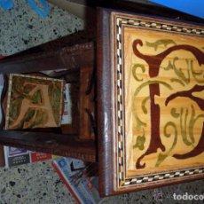 Antigüedades: MACETERO PEANA PEDESTAL MADERA INCRUSTACIONES DE TARACERÍA Y MARQUETERÍA COMO SOPORTE ESCULTURA. Lote 97505147