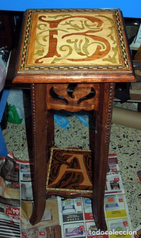 Antigüedades: Macetero Peana Pedestal madera incrustaciones de taracería y marquetería como soporte escultura - Foto 2 - 97505147