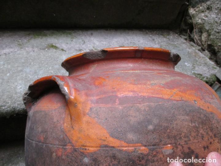 Antigüedades: TINAJA MIELERA BARRO, ASAS OREJETA - 33CM ALTO X 27CM HACIA 1950+ INFO Y FOTOS - Foto 3 - 97505571