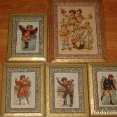 Antigüedades: JUEGO DE CUADROS PORTAFOTOS DE MADERA.CROMOS ANTIGUOS. COLECCION. Lote 97517827