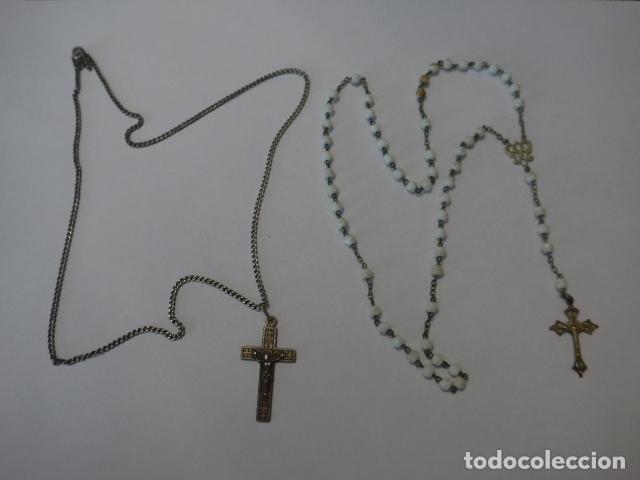 * LOTE 2 ANTIGUO ROSARIO DE PLATA, ROSARIOS ORIGINALES. ZX (Antigüedades - Religiosas - Rosarios Antiguos)