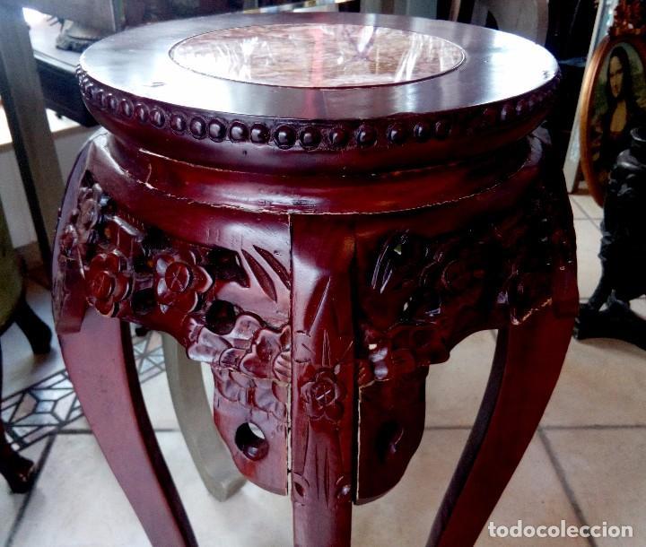 Antigüedades: ESPECTACULAR PEDESTAL CHINO EN MADERA TALLADA DE PALISANDRO Y MARMOL - 77 CM - Foto 5 - 114315614