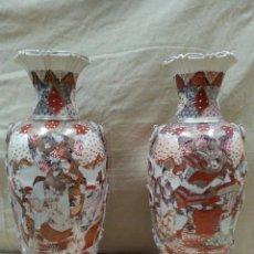 Antigüedades: PAREJA DE JARRONES JAPONESES-. Lote 97566791