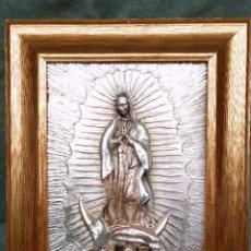 Antigüedades: CUADRO ALTO RELIEVE DE LA VIRGEN BAÑADO EN PLATA - CREAZIONI ARTISTICHE ARG 925. Lote 118786139