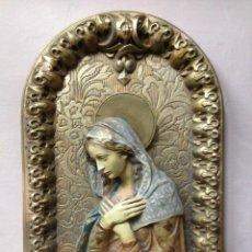 Antigüedades: PRECIOSO FLAFON RELIGIOSO IMAGEN VIRGEN ESTUCO. Lote 97602783