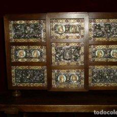 Antigüedades: IMPRESIONANTE BARGUEÑO ( PLATA, HUESO, HIERRO Y NOGAL ) DIGNO DE MUSEO. . Lote 97608271