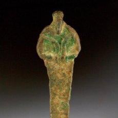 Antigüedades: ANTIGUA ESTÁTUA EGIPCIA EN BRONCE DEL DIOS OSIRIS,--26ª DINASTÍA--600 AÑOS AC,. Lote 97639395
