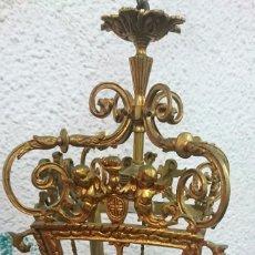 Antigüedades: ANTIGUO FAROL, APLIQUE, LÁMPARA DE SACRISTÍA, BRONCE, ELECTRIFICADO. FUNCIONANDO.. Lote 97642907