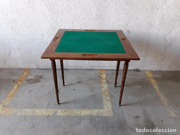 Antigüedades: Mesa de jugadores estilo Luis XVI, mesa de juego cuadrada tapete verde antigua retro vintage - Foto 2 - 97644599