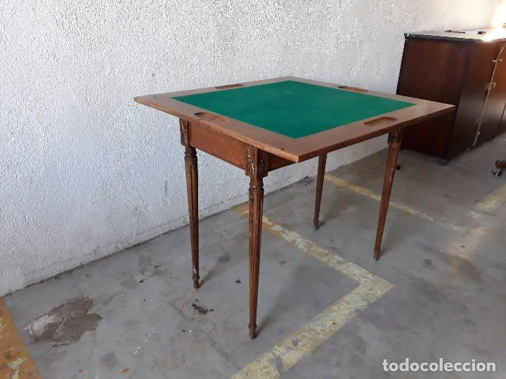 Antigüedades: Mesa de jugadores estilo Luis XVI, mesa de juego cuadrada tapete verde antigua retro vintage - Foto 3 - 97644599