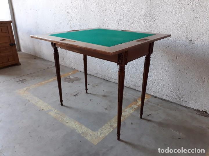 Antigüedades: Mesa de jugadores estilo Luis XVI, mesa de juego cuadrada tapete verde antigua retro vintage - Foto 4 - 97644599