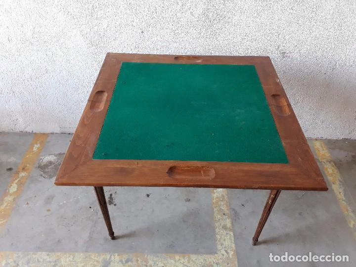 Antigüedades: Mesa de jugadores estilo Luis XVI, mesa de juego cuadrada tapete verde antigua retro vintage - Foto 5 - 97644599