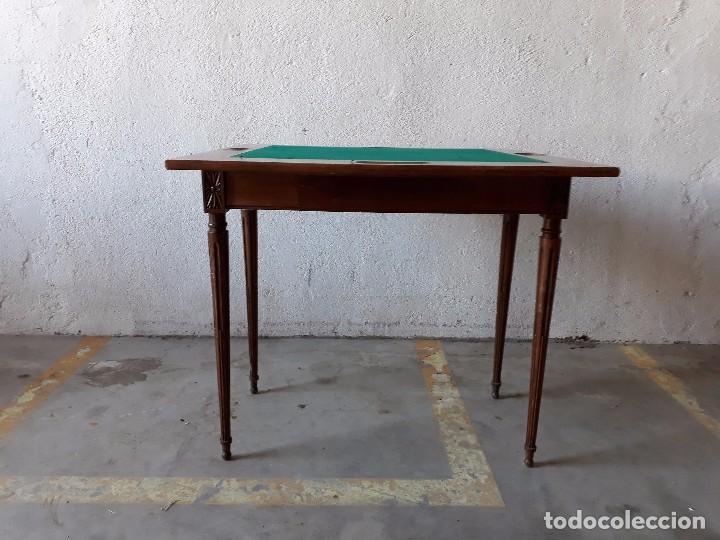 Antigüedades: Mesa de jugadores estilo Luis XVI, mesa de juego cuadrada tapete verde antigua retro vintage - Foto 6 - 97644599