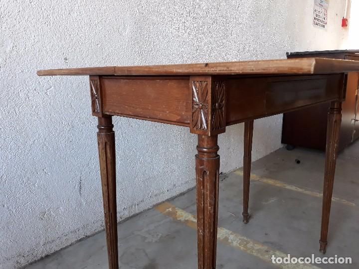 Antigüedades: Mesa de jugadores estilo Luis XVI, mesa de juego cuadrada tapete verde antigua retro vintage - Foto 7 - 97644599