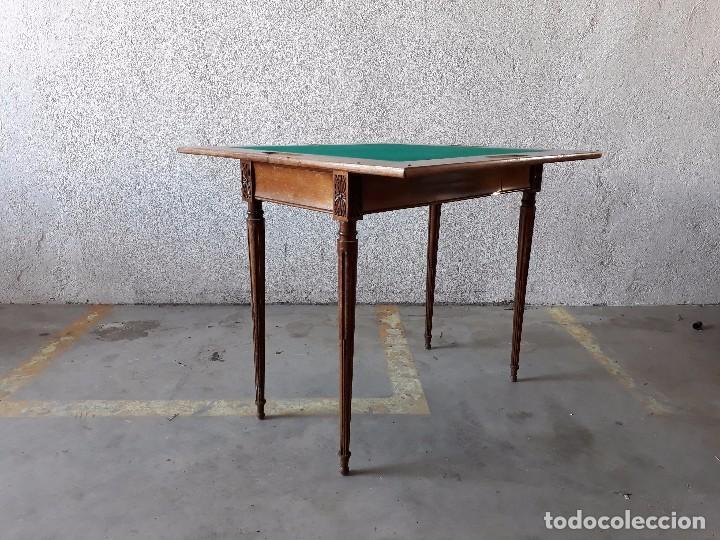 Antigüedades: Mesa de jugadores estilo Luis XVI, mesa de juego cuadrada tapete verde antigua retro vintage - Foto 8 - 97644599