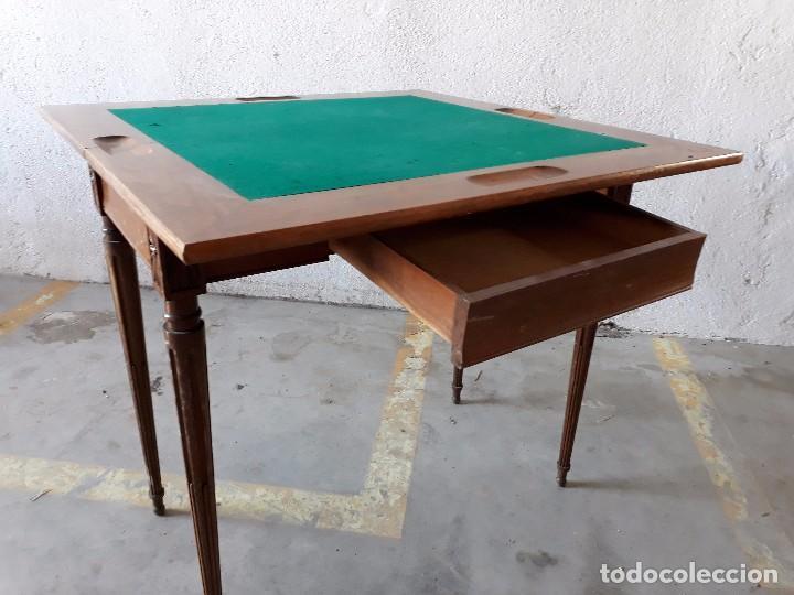 Antigüedades: Mesa de jugadores estilo Luis XVI, mesa de juego cuadrada tapete verde antigua retro vintage - Foto 9 - 97644599