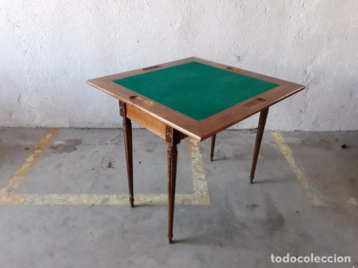 Antigüedades: Mesa de jugadores estilo Luis XVI, mesa de juego cuadrada tapete verde antigua retro vintage - Foto 10 - 97644599