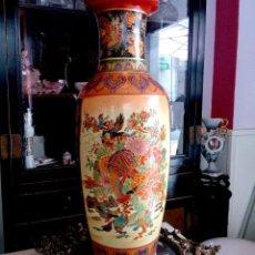 Antigüedades: ENORME JARRON CHINO PINTADO A MANO - DECORADO CON AVES - ALTURA 60 CMS.. Lote 97690431