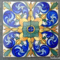 Antigüedades: PAÑO DE 4 AZULEJOS ANTIGUOS.. Lote 97690547