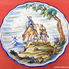 Antigüedades: GRAN PLATO EN CERAMICA DE TALAVERA (MOVERMA) CON ESCENA DEL QUIJOTE. Lote 97709611