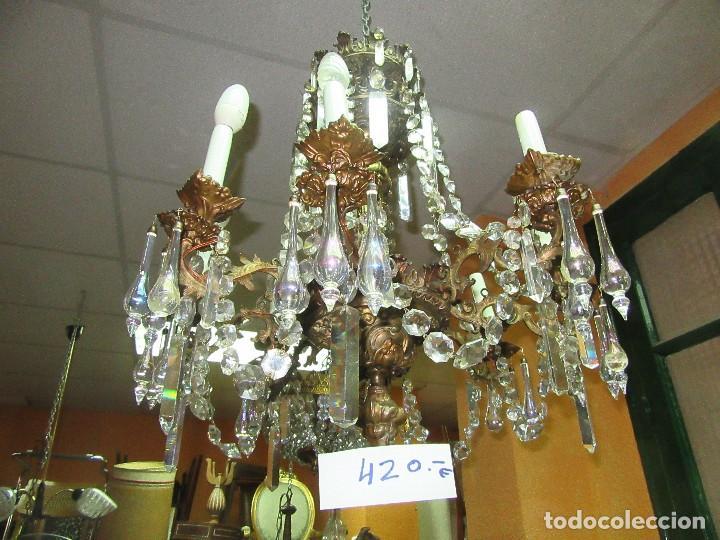 LÁMPARA DE METAL Y CRISTAL MARAVILLOSO (Antigüedades - Iluminación - Lámparas Antiguas)