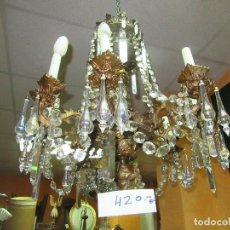 Antigüedades: LÁMPARA DE METAL Y CRISTAL MARAVILLOSO. Lote 97722387