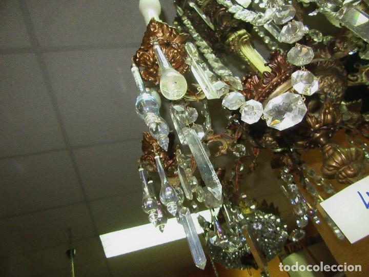 Antigüedades: LÁMPARA DE METAL Y CRISTAL MARAVILLOSO - Foto 7 - 97722387