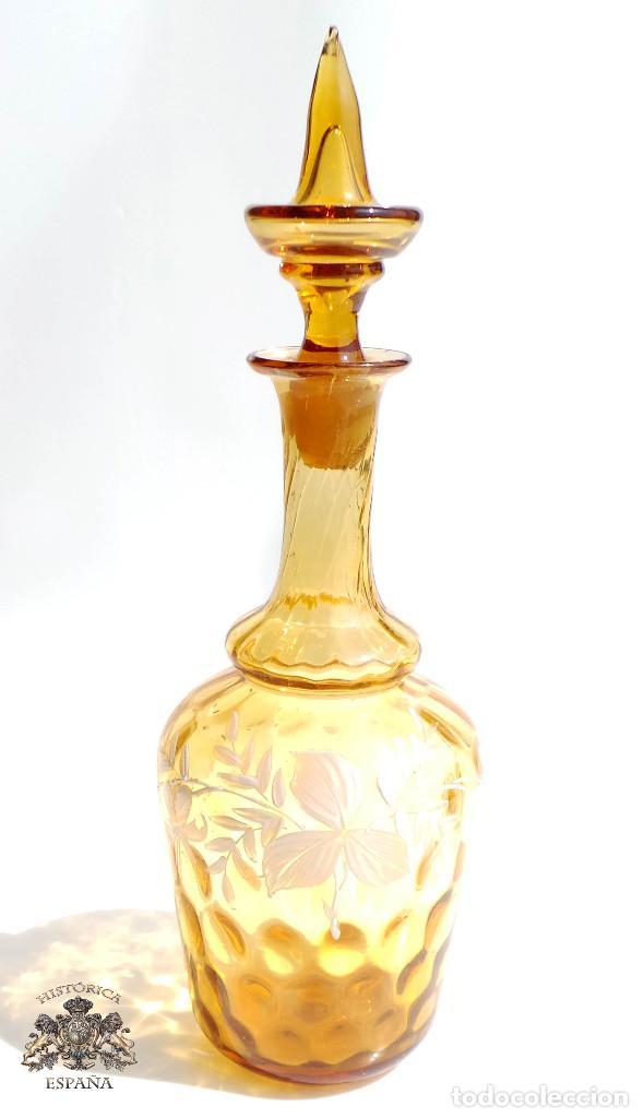 PRECIOSA LICORERA DE CRISTAL SOPLADO EN COLOR ANARANJADO - 23 CM DE ALTA (Antigüedades - Cristal y Vidrio - Otros)