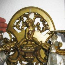 Antigüedades: RESTAURADO. ELEGANTE GRAN APLIQUE FRANCIA 1930 BRONCE Y CRISTAL LAMPARA ANTIGUA . Lote 97728623