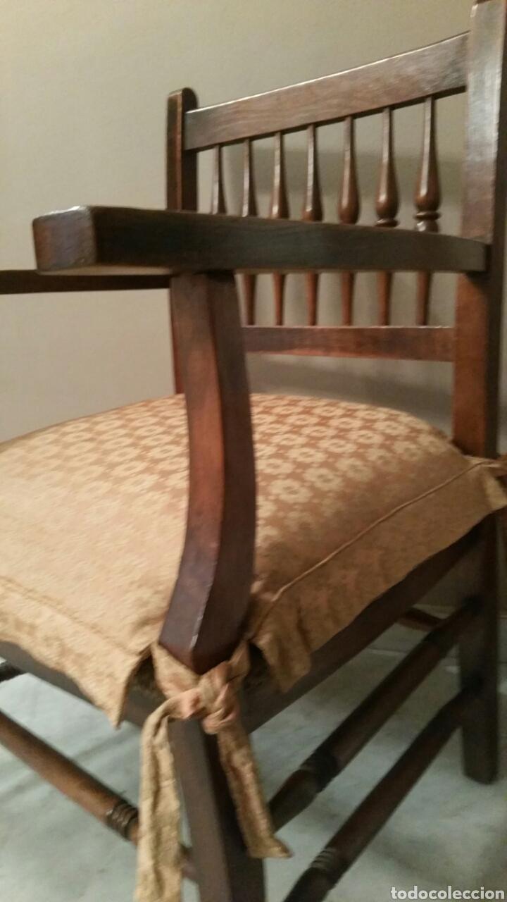 Antigüedades: Antigua Silla (Sillón) de madera con brazos. Asiento de cuerda. Años 50. S. XX. (Con cojín). - Foto 10 - 97736431