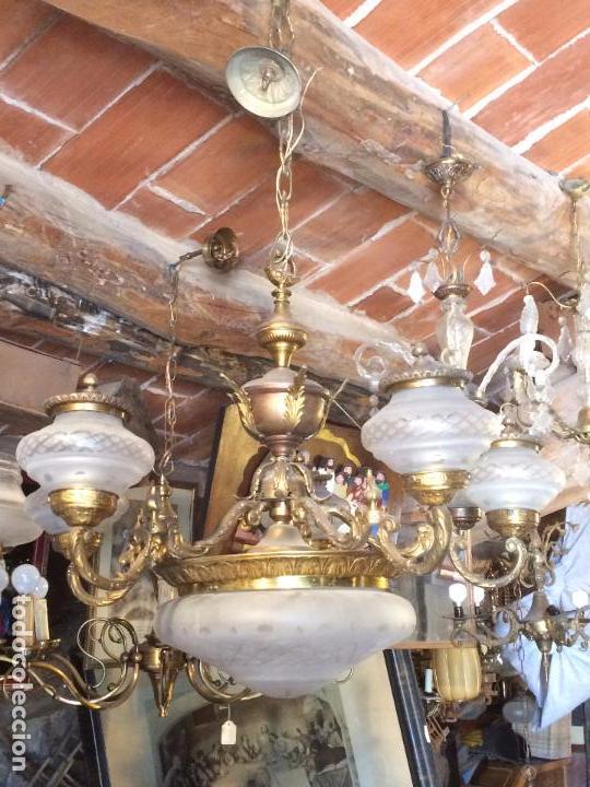 de lámpara en de latón con Vendido Antigua techo metal t 34A5RjLq